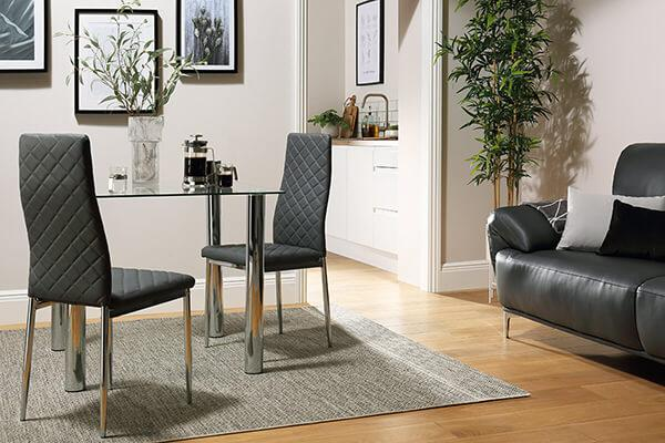 Nova Square Chrome and Glass Dining Table - with 2 Renzo Grey Chairs