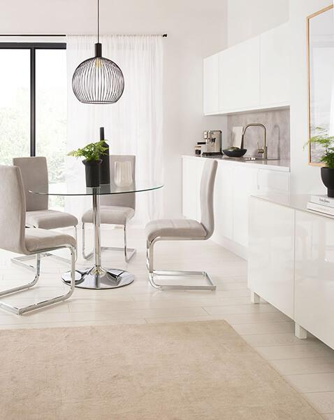 Orbit Round Glass & Chrome Dining Table - with 4 Perth Dove Grey Fabric Chairs