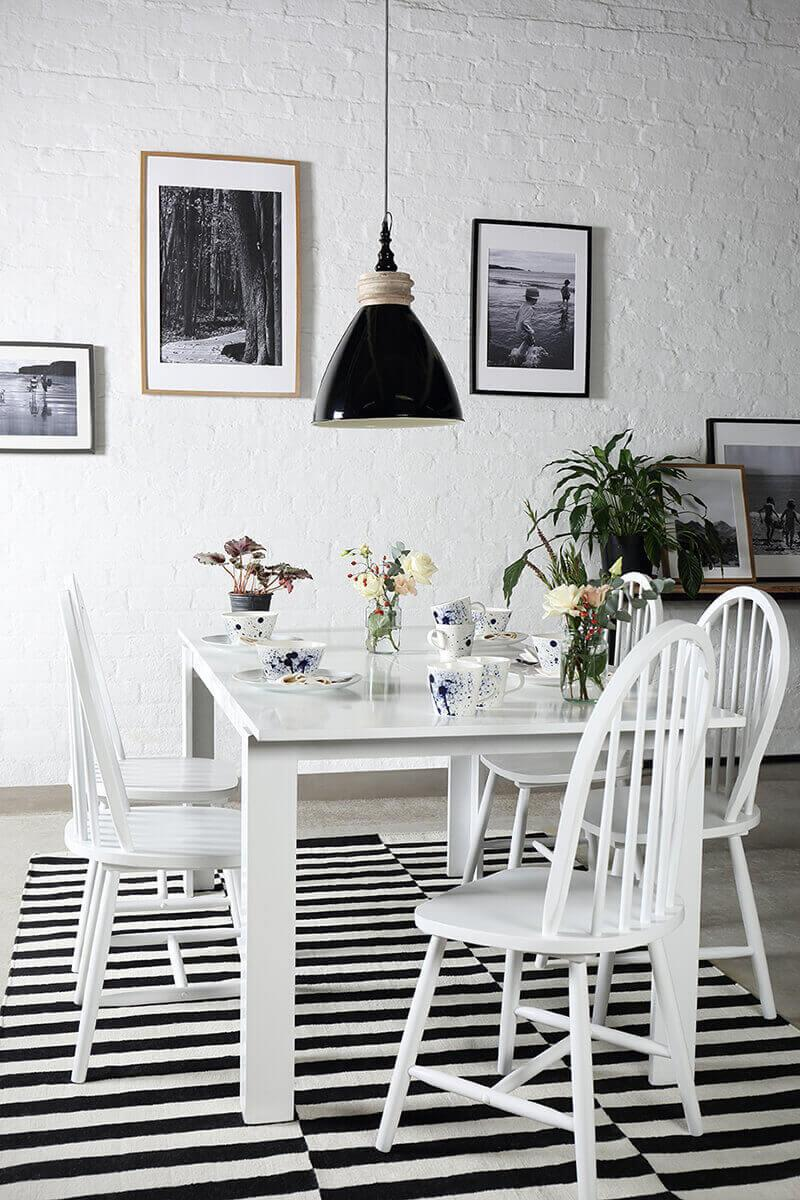 Aspen White Extending Dining Table - with 4 Windsor Chairs