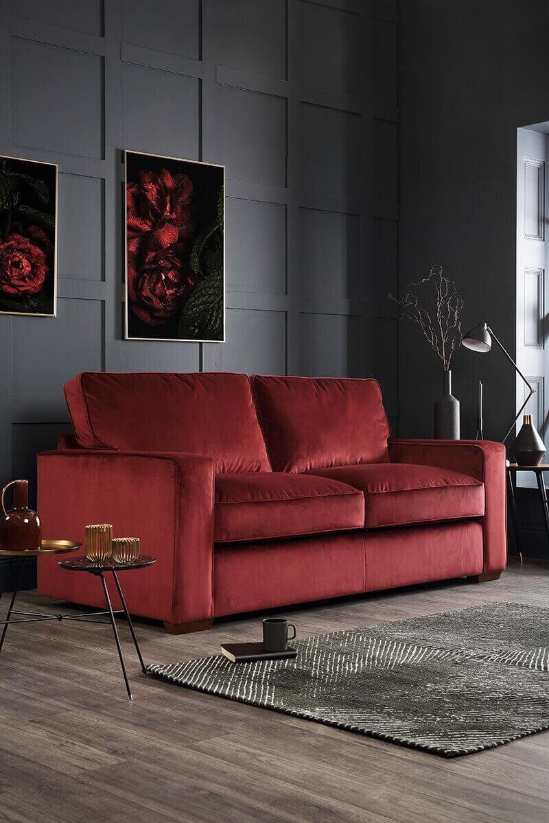 Chicago Burgundy Velvet Sofa - 3 Seater