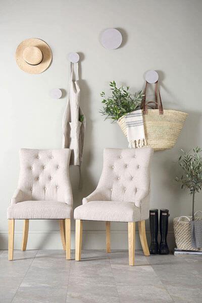 Duke Fabric Button Back Dining Chair - Oatmeal (Oak Leg)