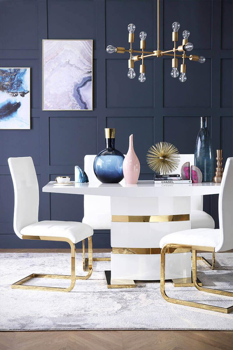 Komoro White High Gloss and Gold Dining Table - with 6 Perth White Chairs (Gold Leg)