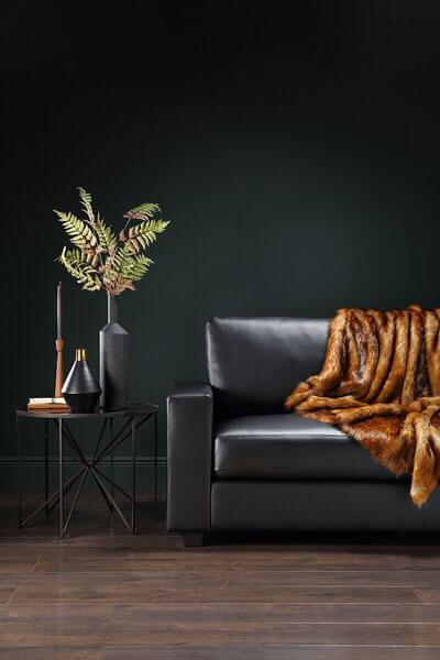 Mission Black Leather Sofa - 3 Seater