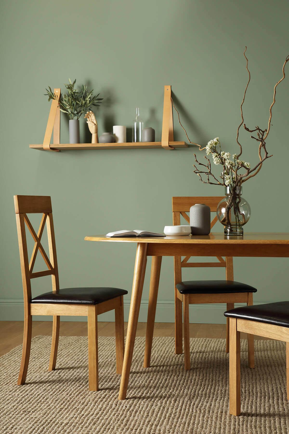 Suffolk Oval Oak Dining Table - with 4 Kendal Brown Chairs