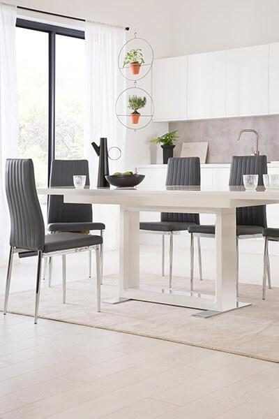 Tokyo White High Gloss Extending Dining Table - with 4 Leon Grey Leather Chairs (Chrome Leg)