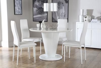 Paris Round White High Gloss Dining Table - with 4 Leon White Chairs