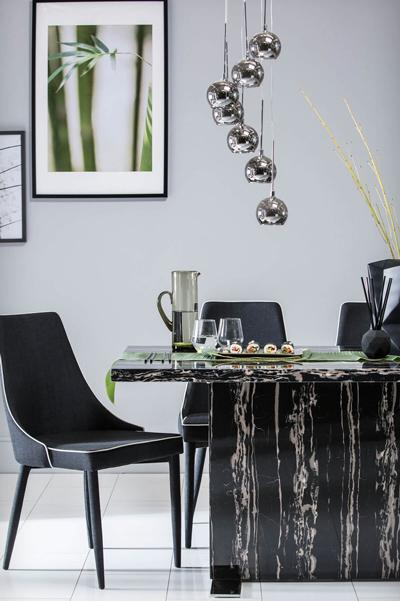 Magnus Black Marble Dining Table - with 6 Modena Black Chairs