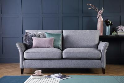 Darwin Grey Fabric Sofa - 3 Seater