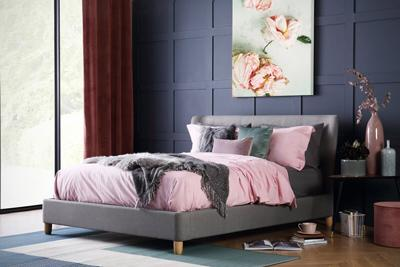 Kensington Grey Fabric Bed - King Size