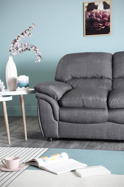 Rochester Slate Grey Fabric Sofa - 3 Seater