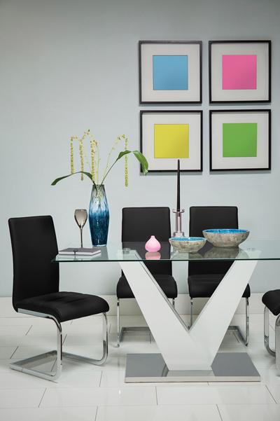Newton White High Gloss and Glass Dining Table - with 4 Perth Black Chairs