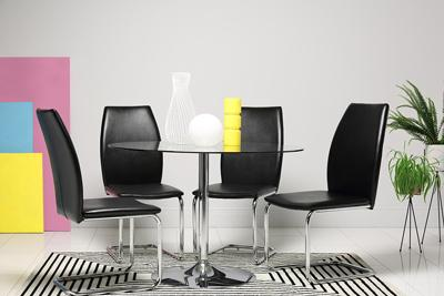 Orbit Round Glass & Chrome Dining Table - with 4 Pica Black Chairs