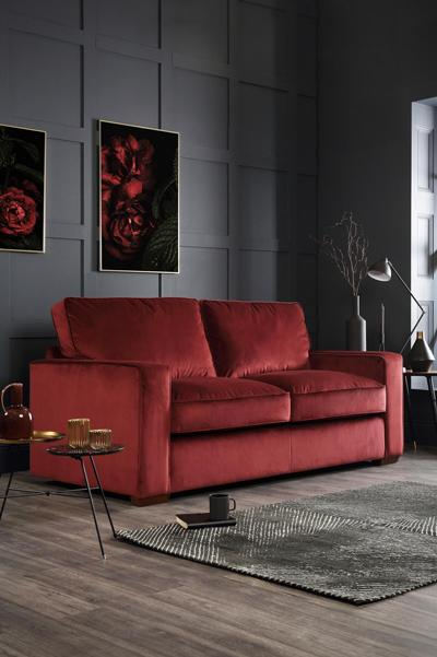 Chicago Burgundy Velvet Sofa - 3 Seater