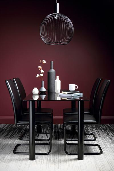 Lunar Black Glass Dining Table - with 4 Pica Black Chairs