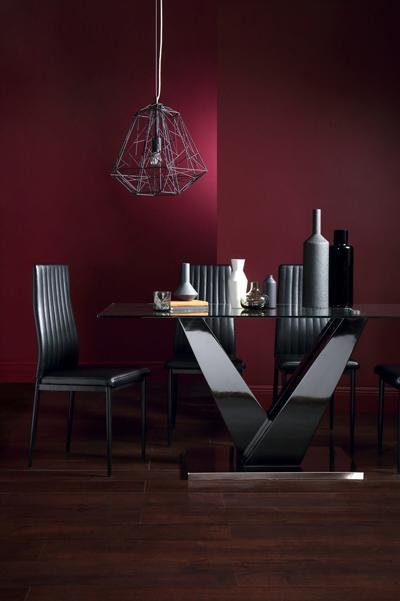 Newton Black High Gloss and Glass Dining Table - with 6 Leon Black (Black Legs)