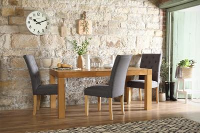 Cambridge 125-170cm Oak Extending Dining Table - with 6 Hatfield Slate Chairs