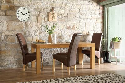 Cambridge 125-170cm Oak Extending Dining Table - with 6 Richmond Club Brown Chairs