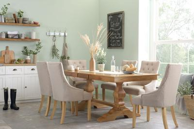 Cavendish Oak Extending Table with 6 Oatmeal Duke Chairs