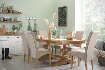Cavendish Oak Extending Table with 6 Stamford Oatmeal Chairs