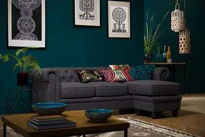 Hampton Slate Fabric Chesterfield Corner Sofa - L Shape