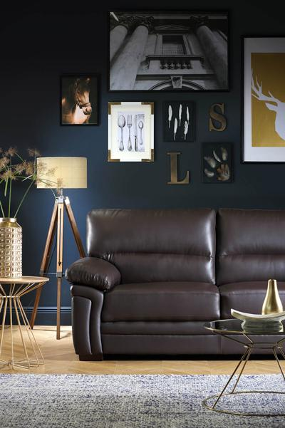 Portman Brown Leather Sofa - 3 Seater