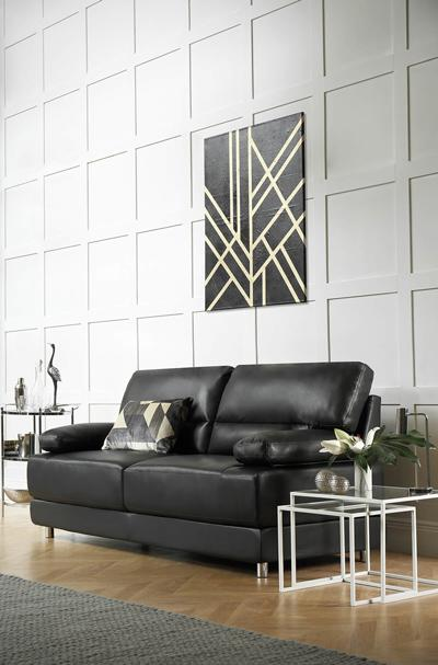 Rocco Black Leather Sofa - 3 Seater