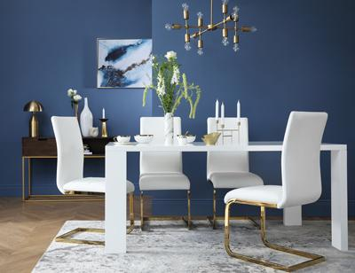 Eden 170cm White High Gloss Dining Table - with 6 Perth White Chairs (Gold Leg)