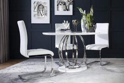 Savoy Round White Marble and Chrome Dining Table - with 4 Perth White Chairs
