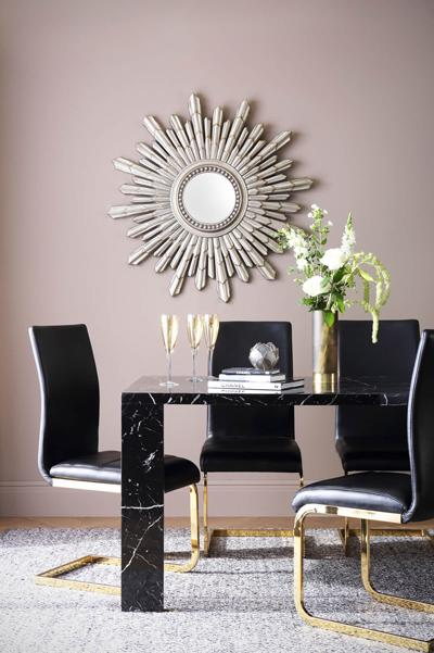 Strata 170cm Black Marble Dining Table - with 6 Perth Black Chairs (Gold Leg)