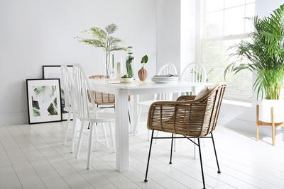 Aspen White Extending Dining Table and 4 Chairs Set (Windsor)