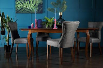 Clarendon Dark Wood Extending Dining Table with 4 Bewley Slate Chairs