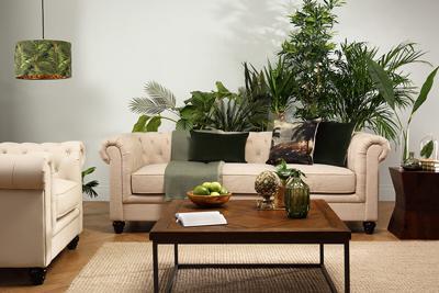 Hampton 3 Seater Fabric Chesterfield Sofa (Oatmeal)