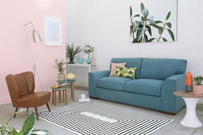 Newark Teal Fabric Sofa 3 Seater