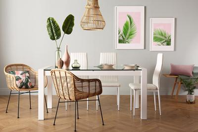 Venice White High Gloss and Glass Dining Table with 4 Leon White Chairs