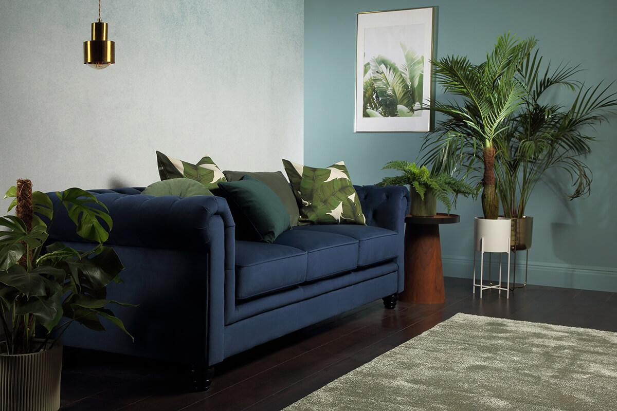 Hampton Blue Velvet Fabric Chesterfield Sofa - 2 Seater