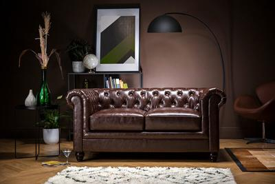 Hampton Antique Chestnut Leather Chesterfield Sofa - 2 Seater