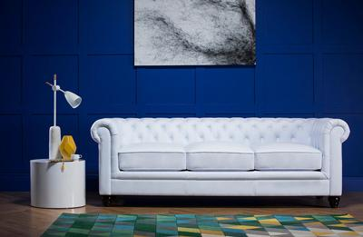 Hampton White Leather Chesterfield Sofa - 3 Seater
