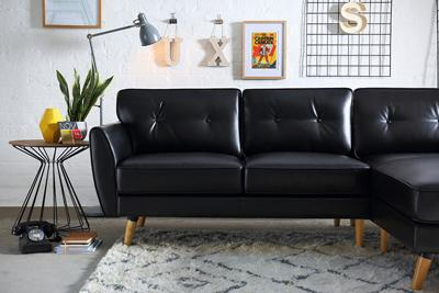 Harlow Black Leather L Shape Corner Sofa - RHF