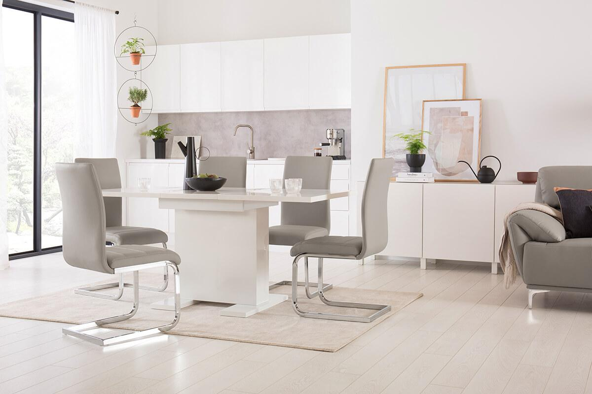 Osaka White High Gloss Extending Dining Table - with 4 Perth Taupe Leather Chairs