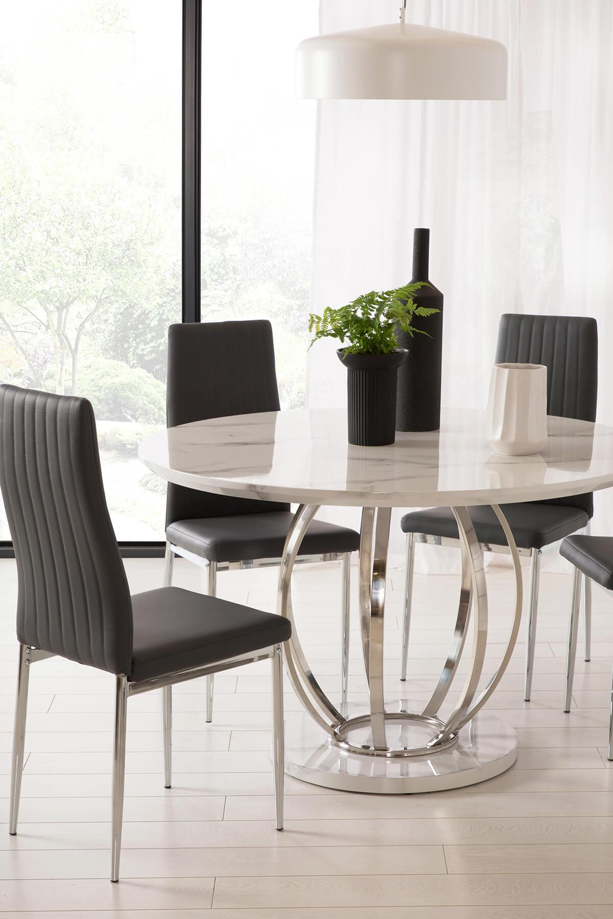 Savoy Round White Marble and Chrome Dining Table - with 4 Leon Grey Chairs