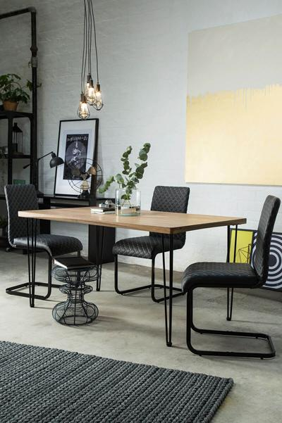 Bronx 150cm Oak Dining Table - with 4 Madison Rustic Brown Chairs