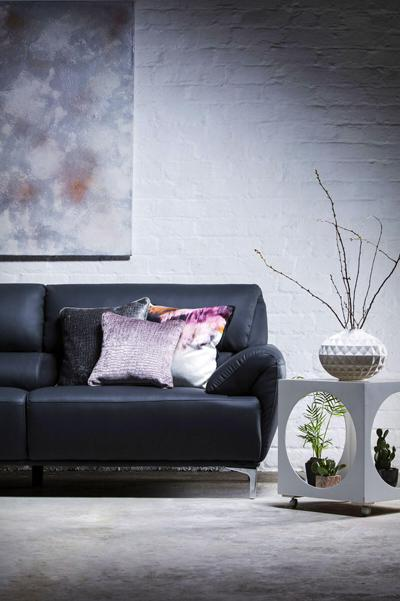 Enzo Grey Leather Sofa - 3 Seater