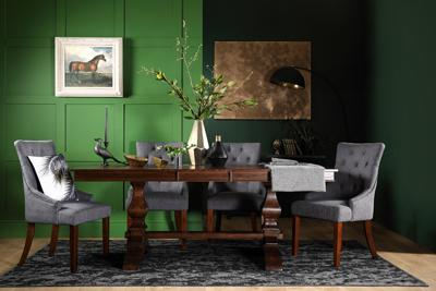 Cavendish Dark Wood Extending Dining Table - with 6 Duke Slate Chairs