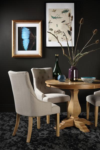 Cavendish Round Oak Dining Table - with 4 Duke Oatmeal Chairs
