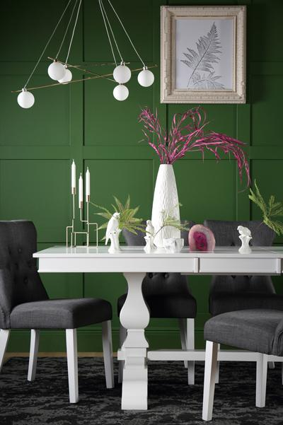Cavendish White Extending Dining Table - with 6 Bewley Slate Chairs