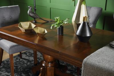 Chatsworth Dark Wood Extending Dining Table - with 6 Bewley Slate Chairs