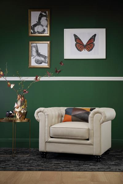 Hampton Ivory Leather Chesterfield Armchair