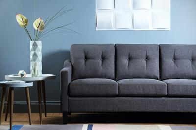 Hepburn Slate Fabric Sofa - 3 Seater