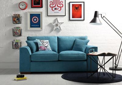 Newark Teal Fabric Sofa - 3 Seater