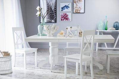 Chatsworth White Extending Dining Table - with 6 Kendal Chairs